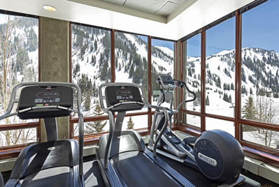 Fitness Room with Magnificent Mountain Views | Alta's Rustler Lodge